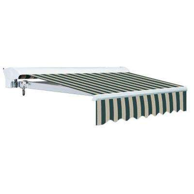 12 ft. Luxury L Series Semi-Cassette Electric w/ Remote Retractable Patio Awning (118in. Projection) Green/Beige Stripes