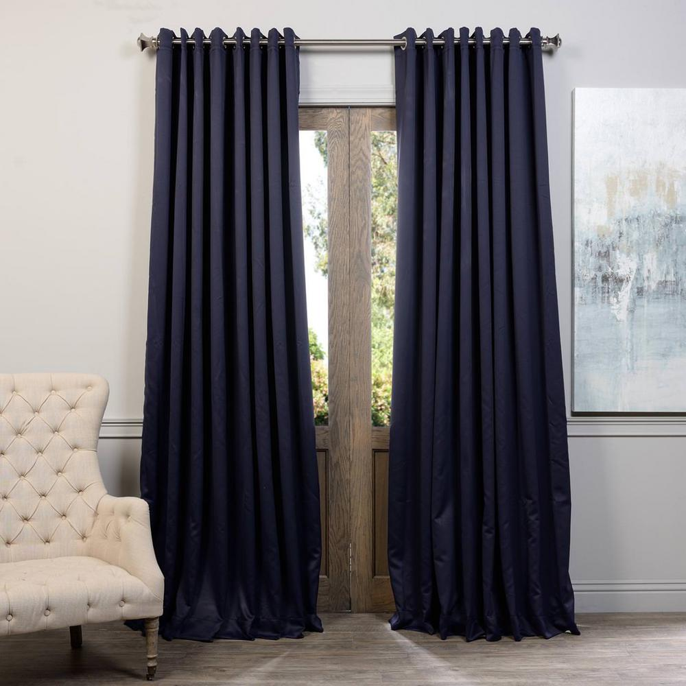 Semi-Opaque Navy Blue Grommet Doublewide Blackout Curtain - 100 in. W