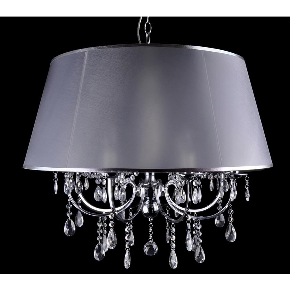 aurora lighting 8 light chrome chandelier with silver fabric shade ch6068 8cchr the home depot. Black Bedroom Furniture Sets. Home Design Ideas