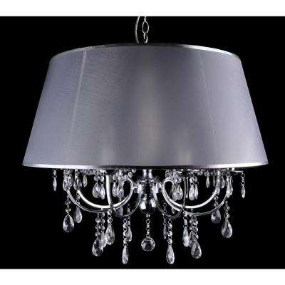 8-Light Chrome Chandelier with Silver Fabric Shade