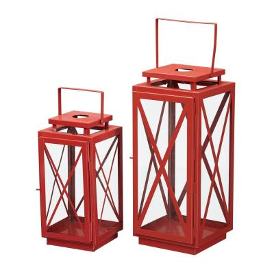 Home Decorators Collection Chili Red Metal Candle Hanging or Tabletop Lantern (Set of 2)