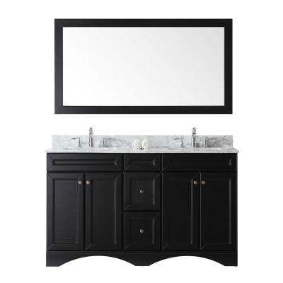 Talisa 60 in. W Bath Vanity in Espresso with Marble Vanity Top in White with Square Basin and Mirror and Faucet
