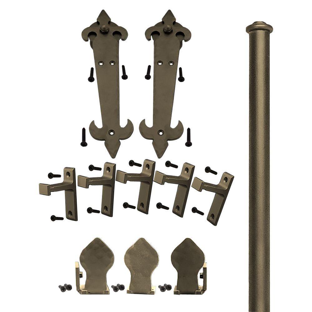 Quiet Glide 1-1/2 in. - 2-1/4 in. Fleur-De-Lis Oil Rubbed Bronze Rolling Door Hardware Kit