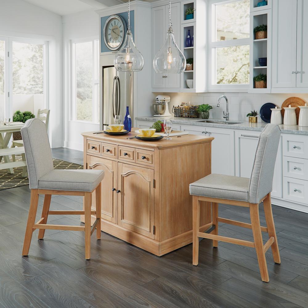 astonishing white portable kitchen islands | Home Styles Cambridge White Wash Natural Kitchen Island ...