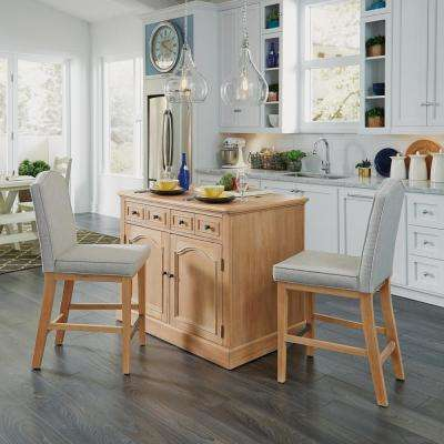 Cambridge White Wash Natural Kitchen Island Set with Wood Top