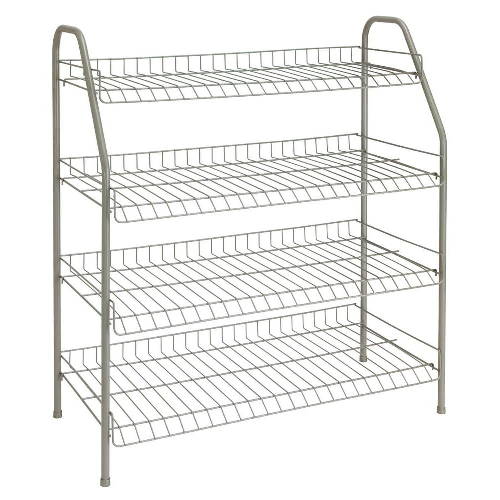 Ordinaire ClosetMaid 28 In. H X 26 In W X 12 In. D 4 Shelf 12 Pair Ventilated Wire  Shoe Organizer In White 8131   The Home Depot