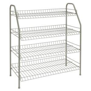 ClosetMaid 28 In. H X 26 In W X 12 In. D 4 Shelf Ventilated Wire Shoe Rack  In Nickel 38131   The Home Depot