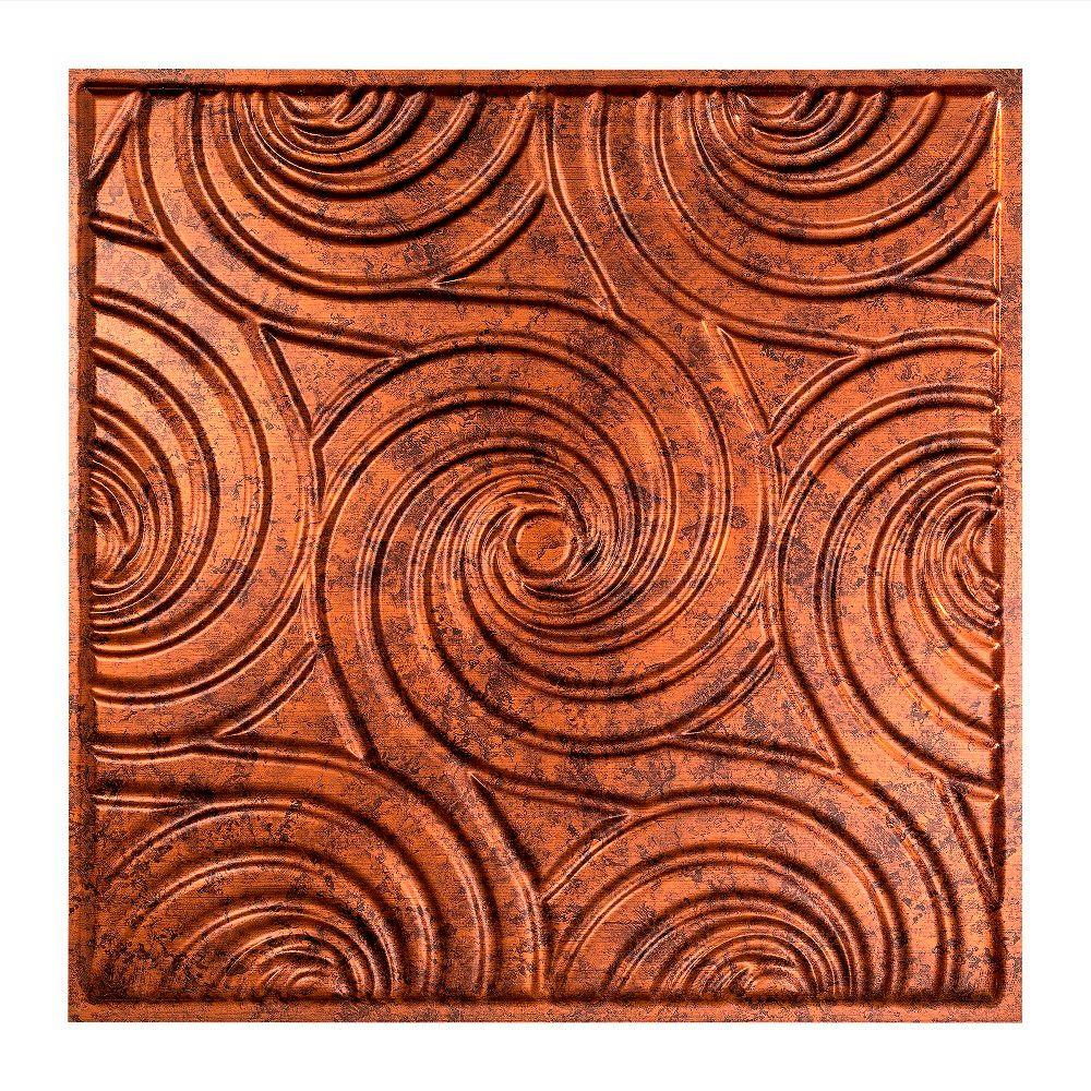 Fasade Typhoon - 2 ft. x 2 ft. Lay-in Ceiling Tile in Moonstone Copper