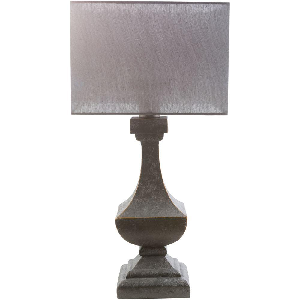 Exceptional Antique Pewter Indoor/Outdoor Table Lamp With Gray Shade
