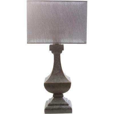 Barnes 31 in. Antique Pewter Indoor/Outdoor Table Lamp with Gray Shade