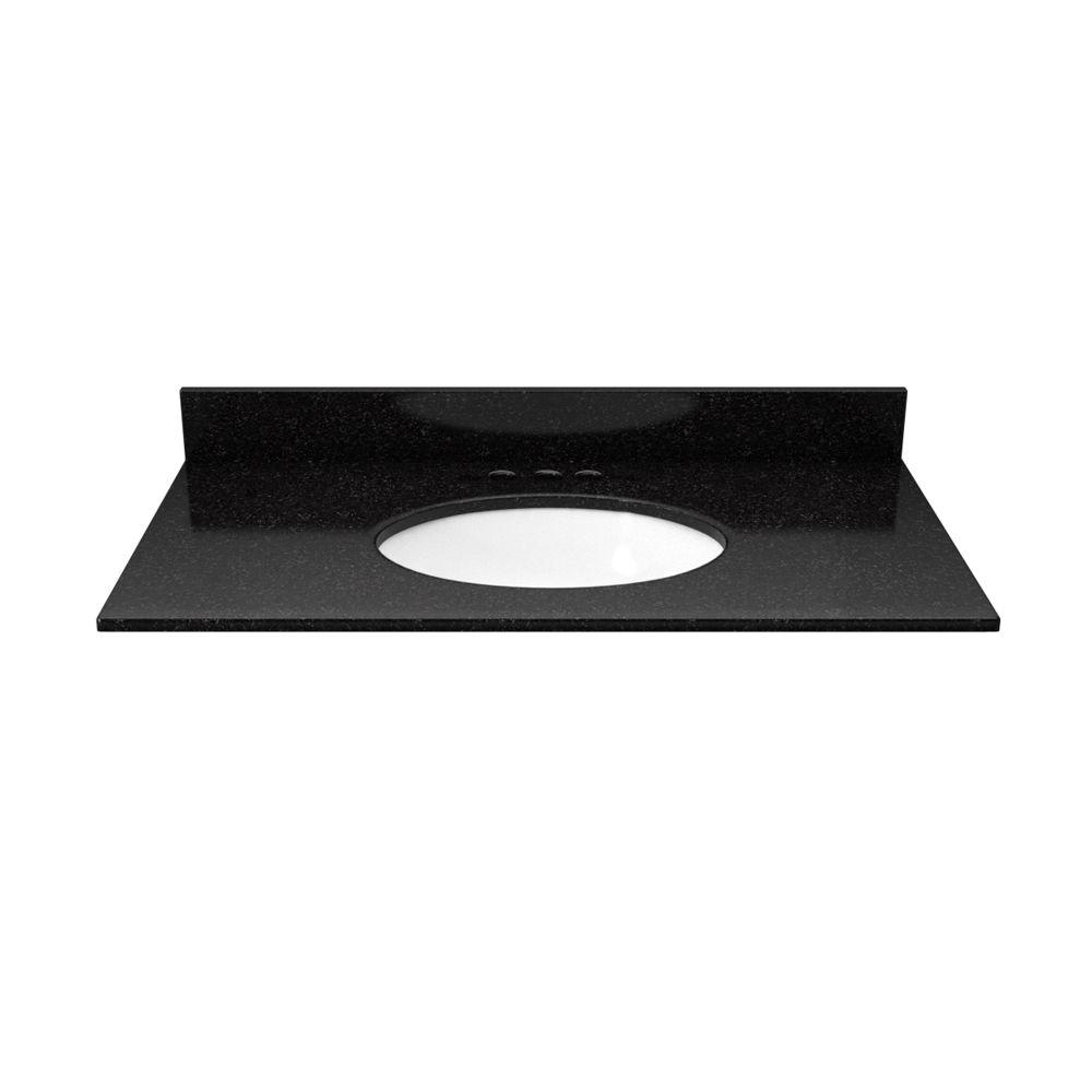 31 in. Granite Vanity Top in Black Galaxy with White Basin