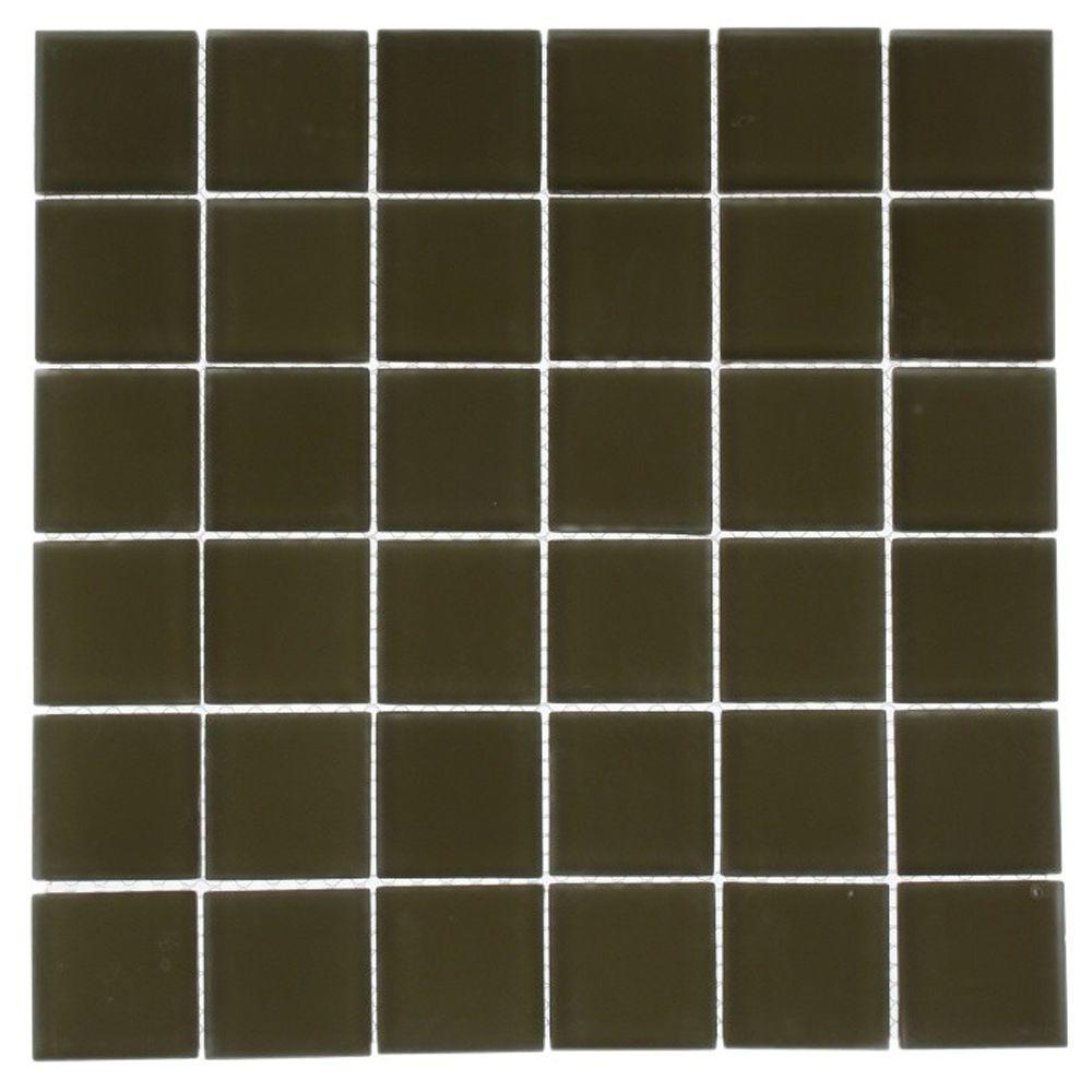 Splashback Tile Contempo Khaki 12 In X 12 In X 8 Mm Frosted Glass