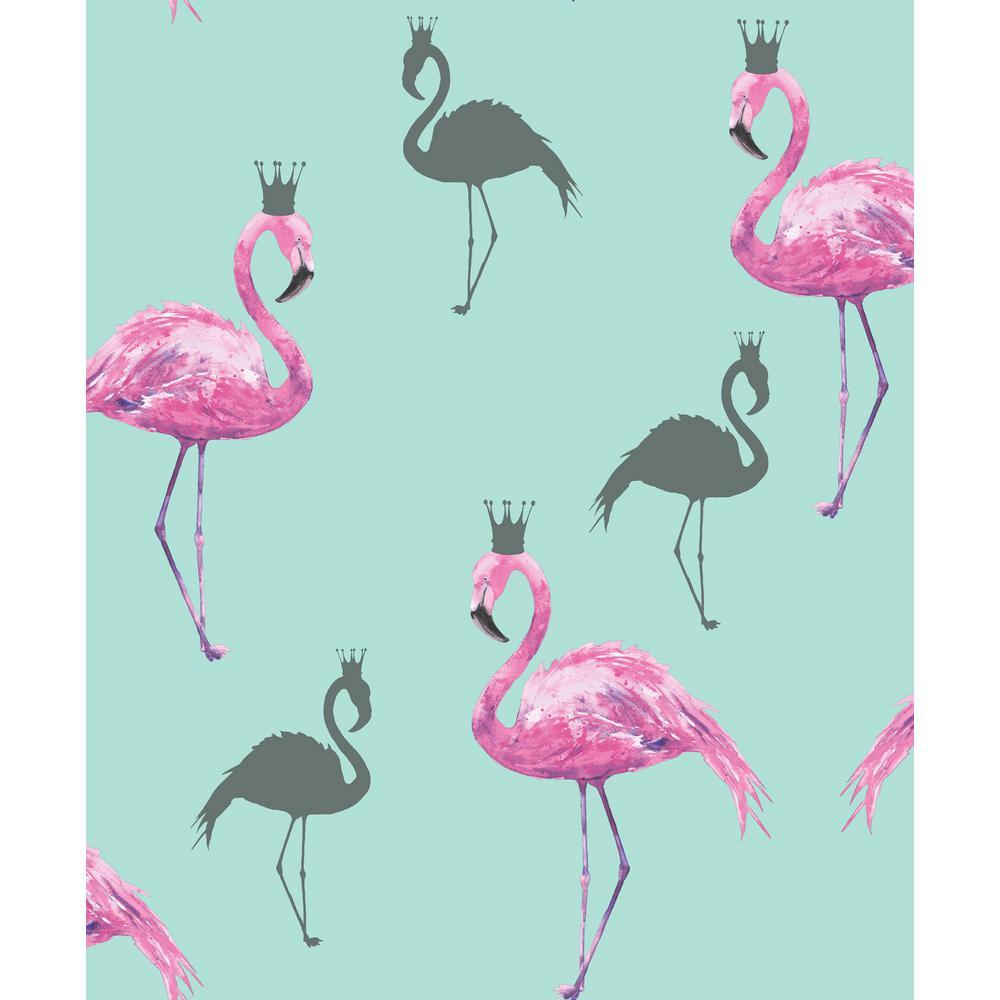 Flamingo Queen Pink/Teal Wallpaper