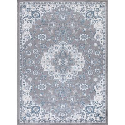 Madison Collection Royal Medallion Gray 5 ft. 3 in. x 7 ft. 3 in. Area Rug