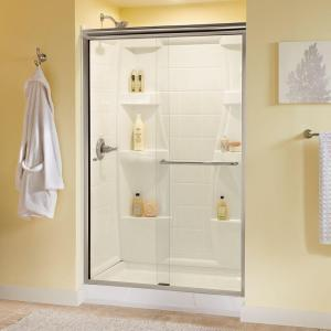 Delta Simplicity 48 inch x 70 inch Semi-Frameless Sliding Shower Door in Nickel with Clear Glass by Delta