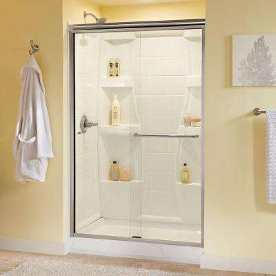 Simplicity 48 in. x 70 in. Semi-Frameless Traditional Sliding Shower Door in Nickel with Clear Glass