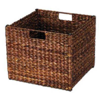13 in. x 11 in. x 13 in. Dark Brown Banana Leaf Collapsible Storage Bin