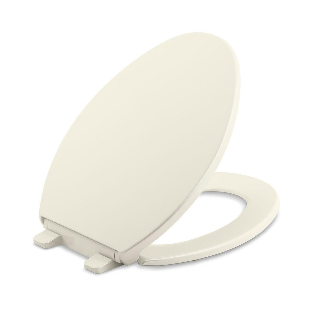 KOHLER Brevia Quiet-Close Elongated Closed Front Toilet Seat in Biscuit