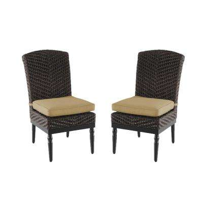 Camden Dark Brown Wicker Outdoor Patio Armless Dining Chair with Sunbrella Antique Beige Cushions (2-Pack)