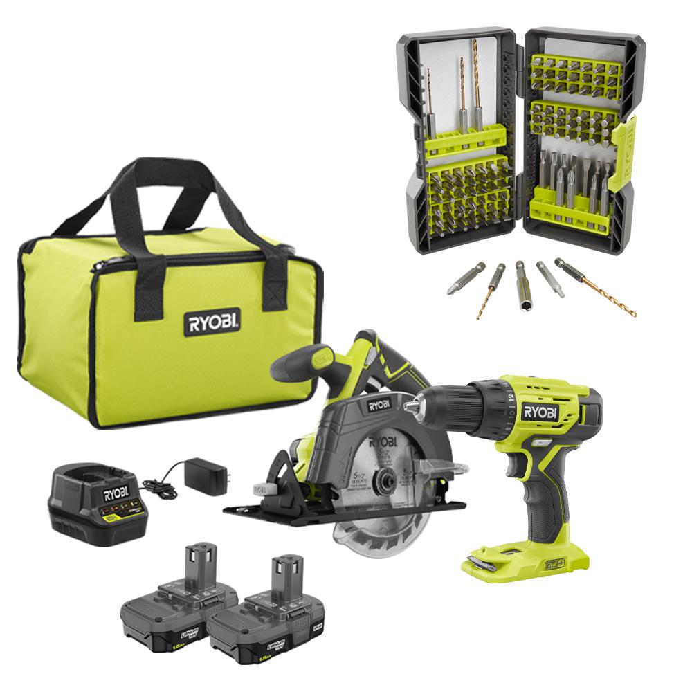 RYOBI 18-Volt Cordless ONE+ Drill/Driver, Circular Saw Kit w/(2) 1.5 Ah Batteries, Charger, Bag and Drill and Drive Kit