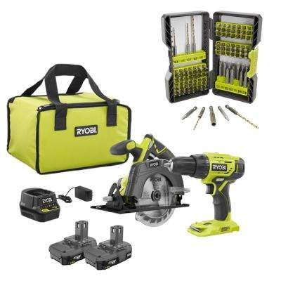 18-Volt Cordless ONE+ Drill/Driver, Circular Saw Kit with (2) 1.5 Ah Batteries, Charger, Bag and Drill and Drive Kit
