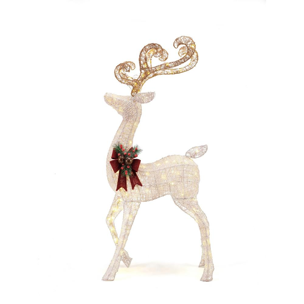 home accents holiday 56 in led lighted white pvc standing deer - Lighted Deer Christmas Lawn Ornaments