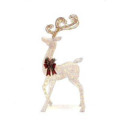 led lighted white pvc standing deer