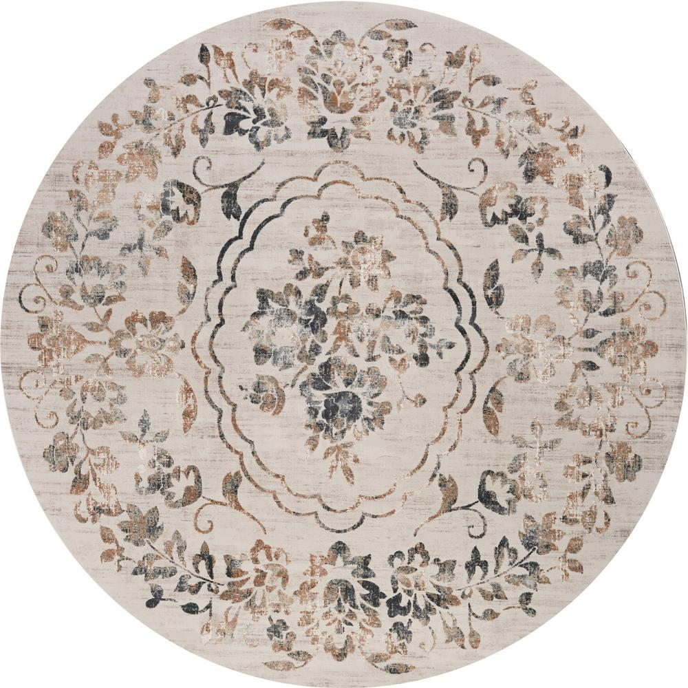 kas rugs empire grey flora 9 ft x 9 ft vintage floral round rug emp7061810x810ro the home depot. Black Bedroom Furniture Sets. Home Design Ideas
