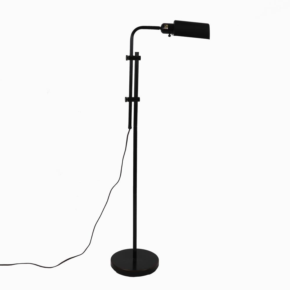 Harvey Pharmacy 60.5 in. Black Floor Lamp with Metal Shade