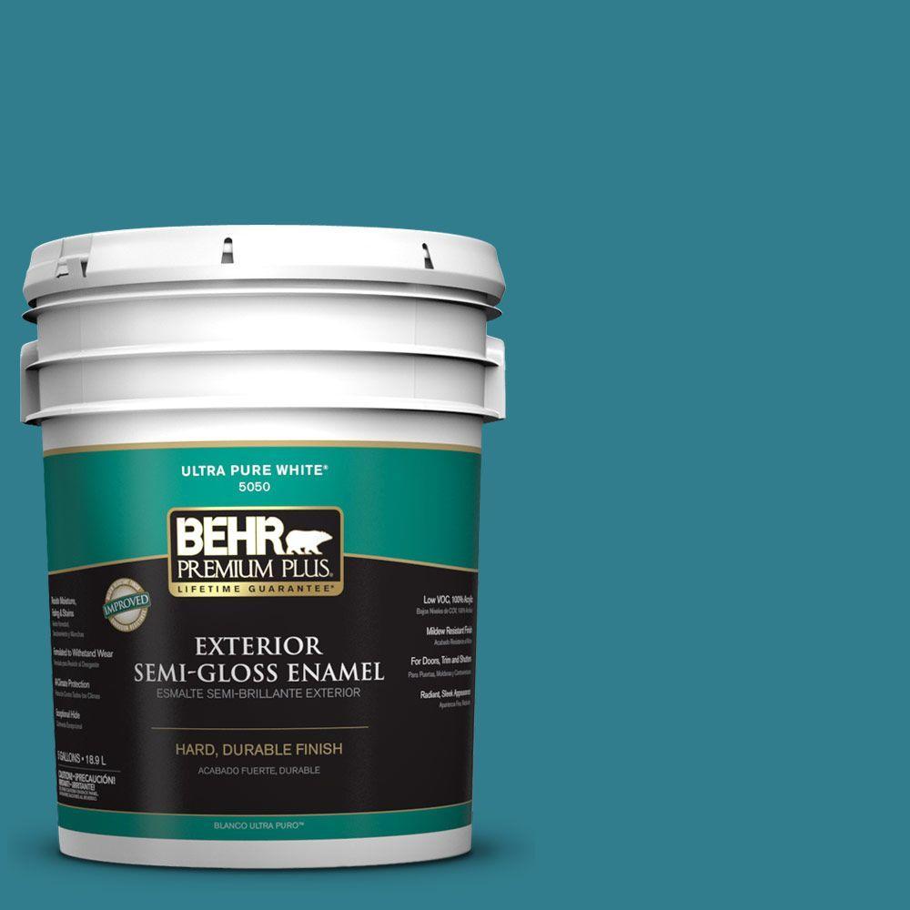 BEHR Premium Plus 5-gal. #HDC-CL-27 Calypso Blue Semi-Gloss Enamel Exterior Paint