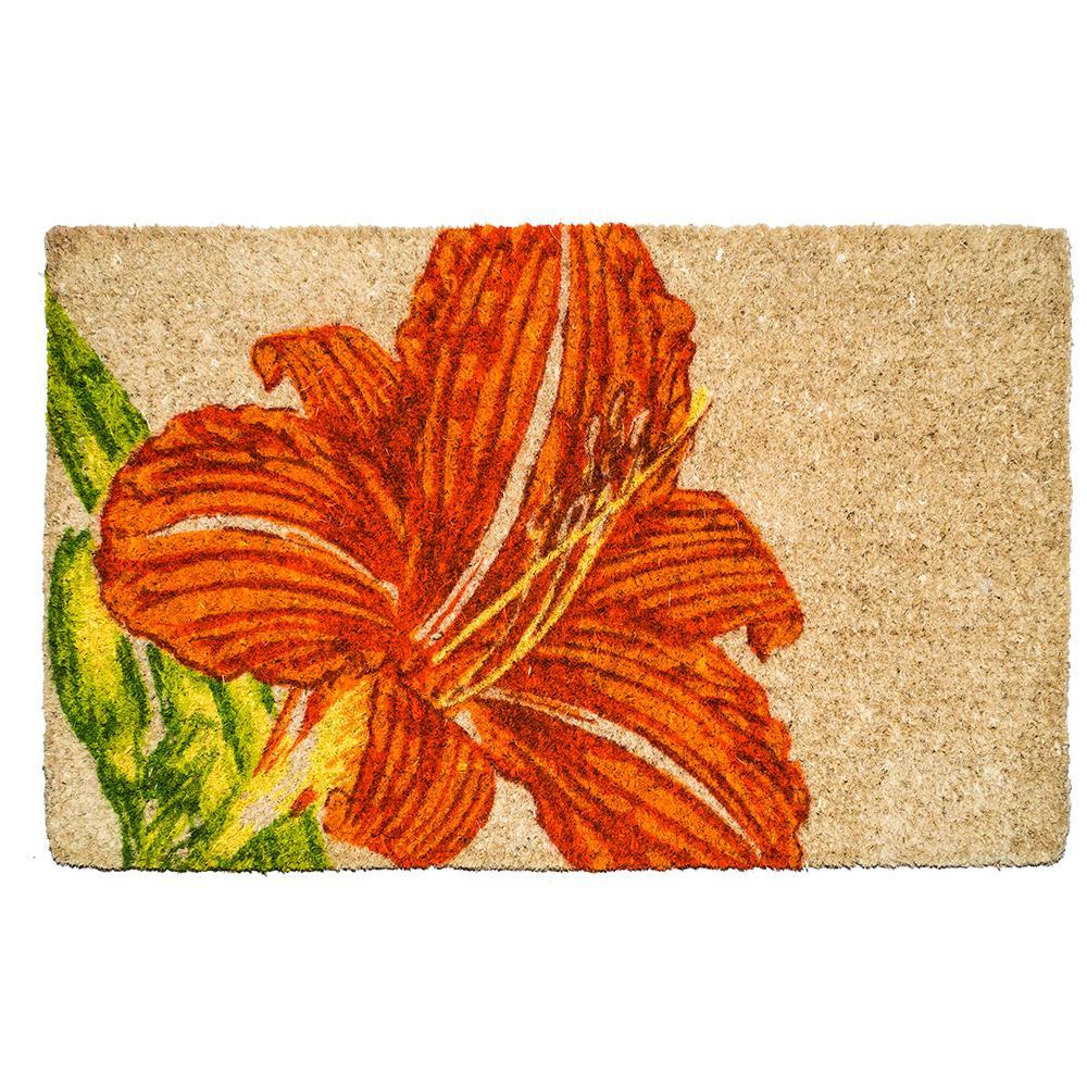 Tangerine Lily 22 in. x 35 in. Hand Woven Coconut Fiber Door Mat