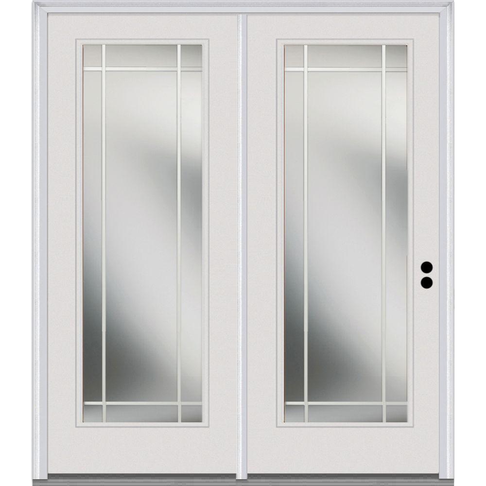 Classic Clear Glass Fiberglass Smooth Prehung Left-Hand Inswing Full Lite PIM Patio Door