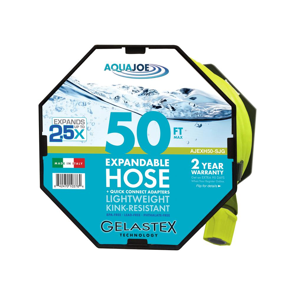 Sun Joe 1/2 in. x 50 ft. Expandable Gelastex Lightweight Kink-Free Hose w/Quick Connectors