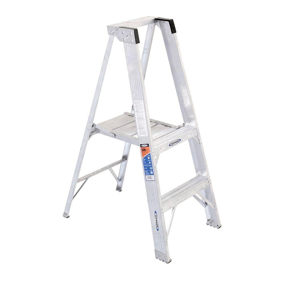 Werner 8 ft. Reach Aluminum Platform Step Ladder with 300 lb. Load Capacity Type IA Duty Rating