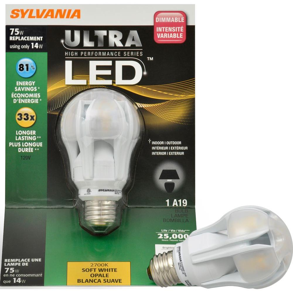 Sylvania 14 Watt (75W) A19 Omni-Directional Medium Base Soft White LED Light Bulb