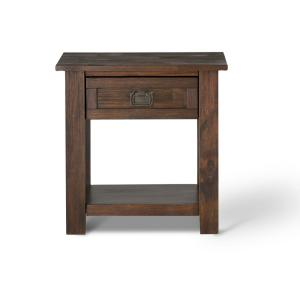 +5. Simpli Home Monroe Distressed Charcoal Brown Storage End Table