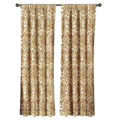 Semi-Opaque Paige 100% Cotton Extra Wide 84 in. L Rod Pocket Curtain Panel Pair, Rust (Set of 2)