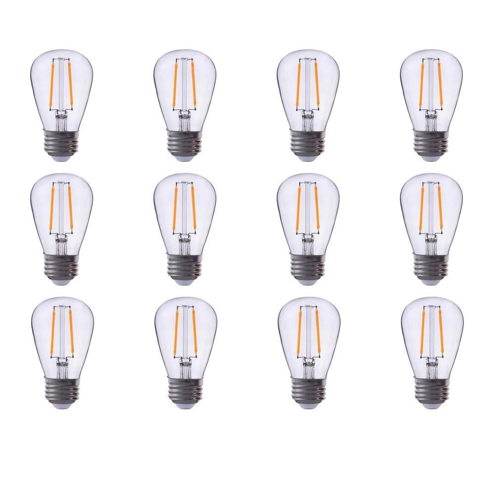 25-Watt Equivalent S14 Clear Glass Filament LED Light Bulb Warm White 2700K (12-Pack)