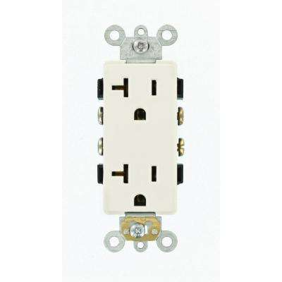 Decora Plus 20 Amp Commercial Grade Self Grounding Duplex Outlet, White