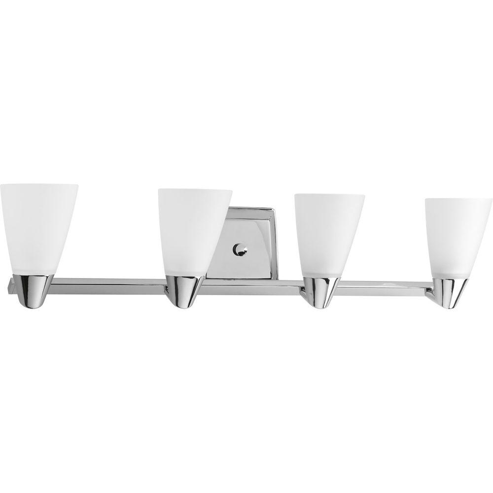 Progress Lighting Rizu Collection 4-Light Polished Chrome Vanity Light with Etched Glass Shades