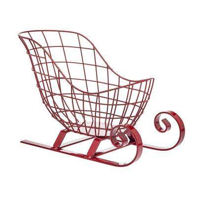 Red Santa Sleigh Wire Basket