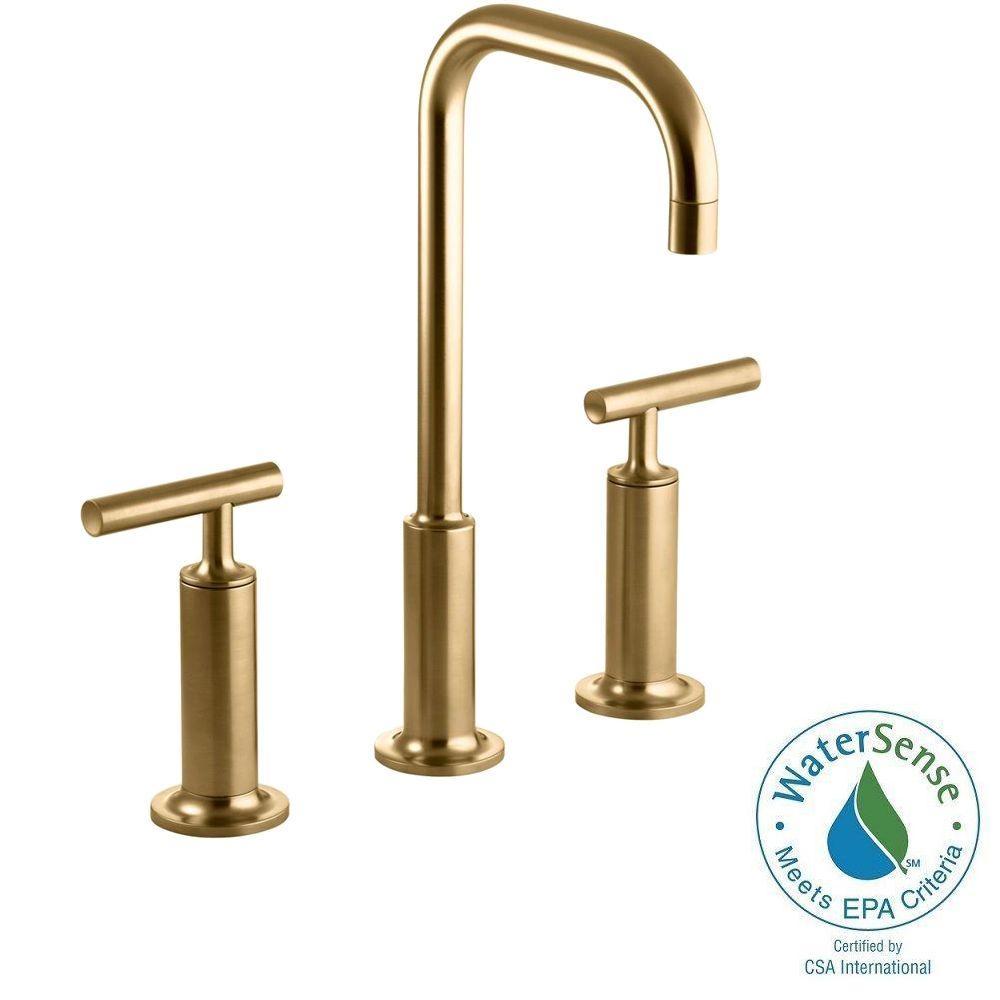 Kohler Purist 8 In Widespread 2 Handle Mid Arc Bathroom Faucet In Vibrant Moderne Brushed Gold