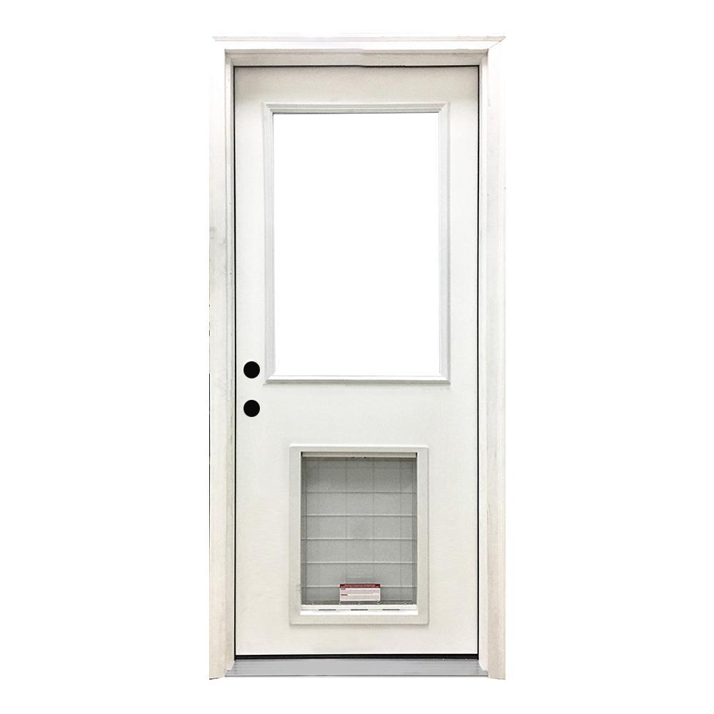 30 in. x 80 in. Classic Half Lite RHIS White Primed Textured Fiberglass Prehung Front Door with SL Pet Door