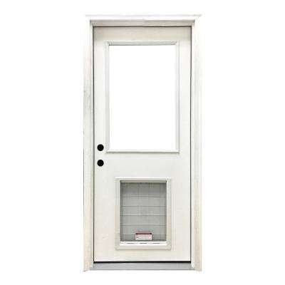 32 in. x 80 in. Classic Half Lite RHIS White Primed Textured Fiberglass Prehung Front Door with SL Pet Door