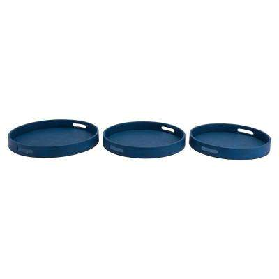 Catania Blue Round Trays (Set of 3)