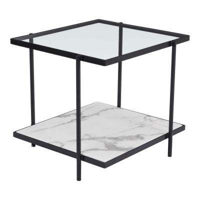 Winslett Clear and White and Matt Black End Table