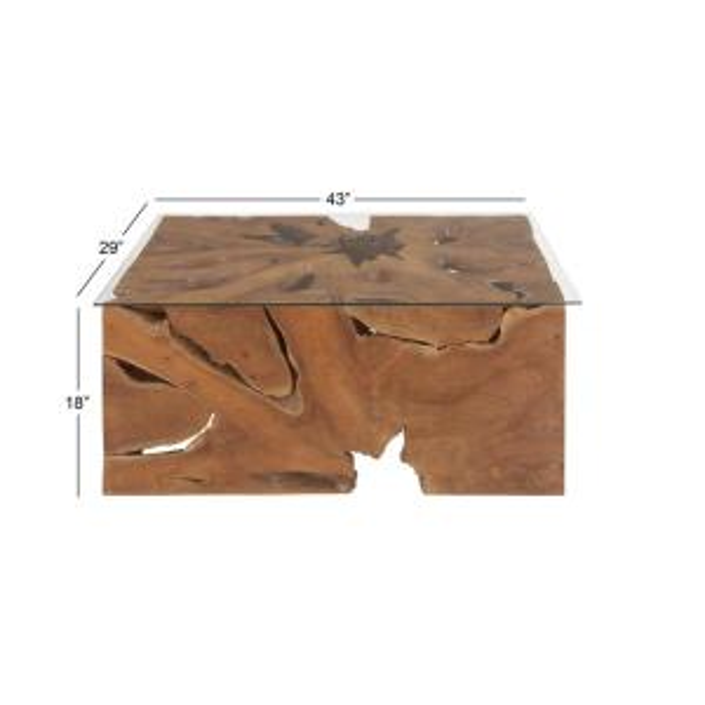 Litton Lane-40 in. x 18 in. Large Rectangular Live Edge Natural Teak Wood Coffee Table