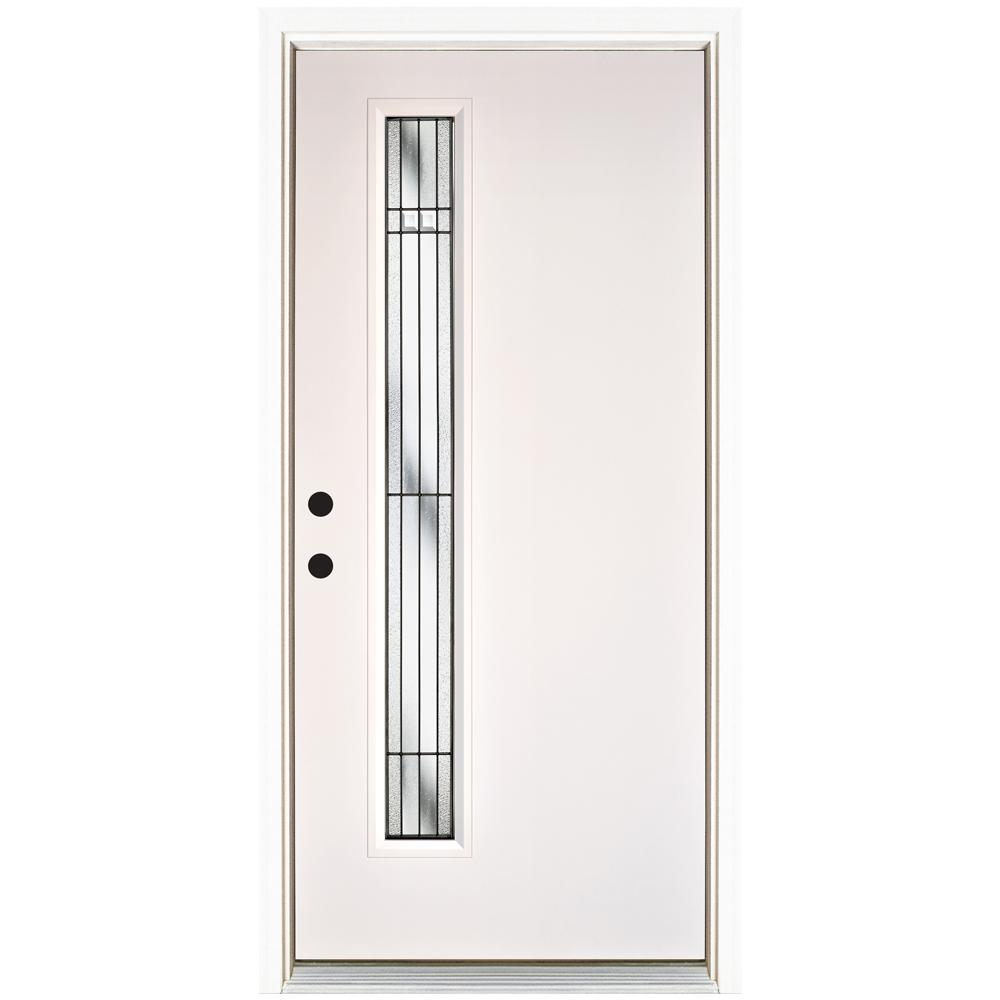 MP Doors 36 in. x 80 in. Radiant Smooth White Right-Hand Inswing Narrow 1 Lite Decorative Fiberglass Prehung Front Door