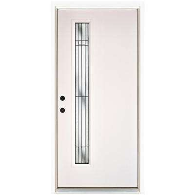36 in. x 80 in. Radiant Smooth White Right-Hand Inswing Narrow 1 Lite Decorative Fiberglass Prehung Front Door