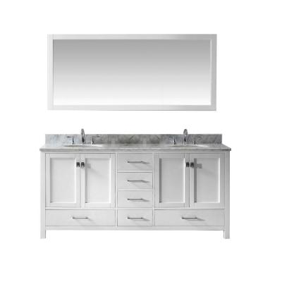 Caroline Avenue 72 in. W Bath Vanity in White with Marble Vanity Top in White with Round Basin and Mirror
